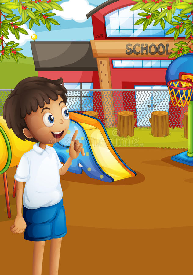 A happy student at the school's playground stock illustration