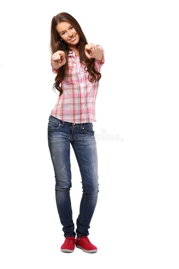 Happy student in studio stock photography