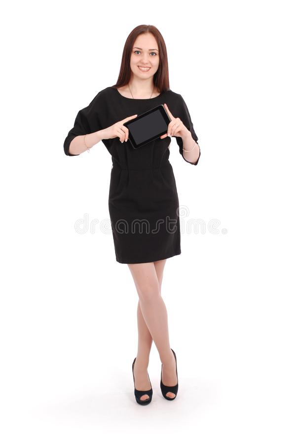 Happy student teenage girl keeps tablet pc stock photos