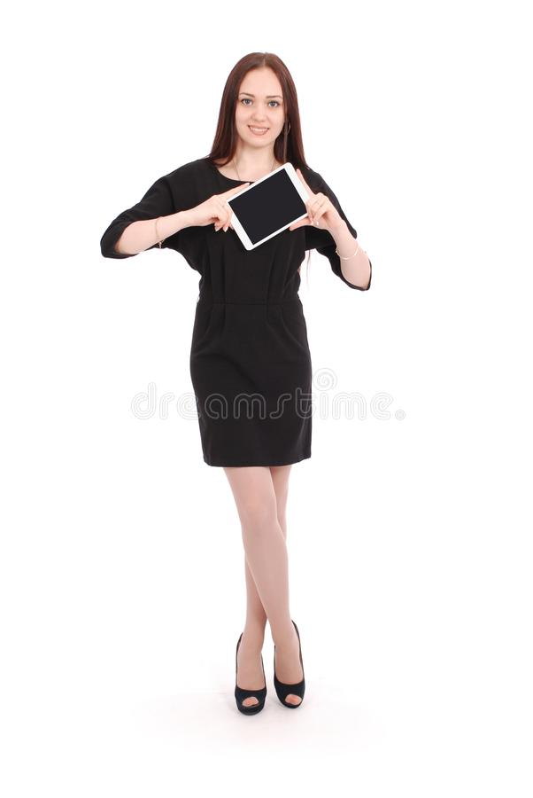 Happy student teenage girl keeps tablet pc royalty free stock photo