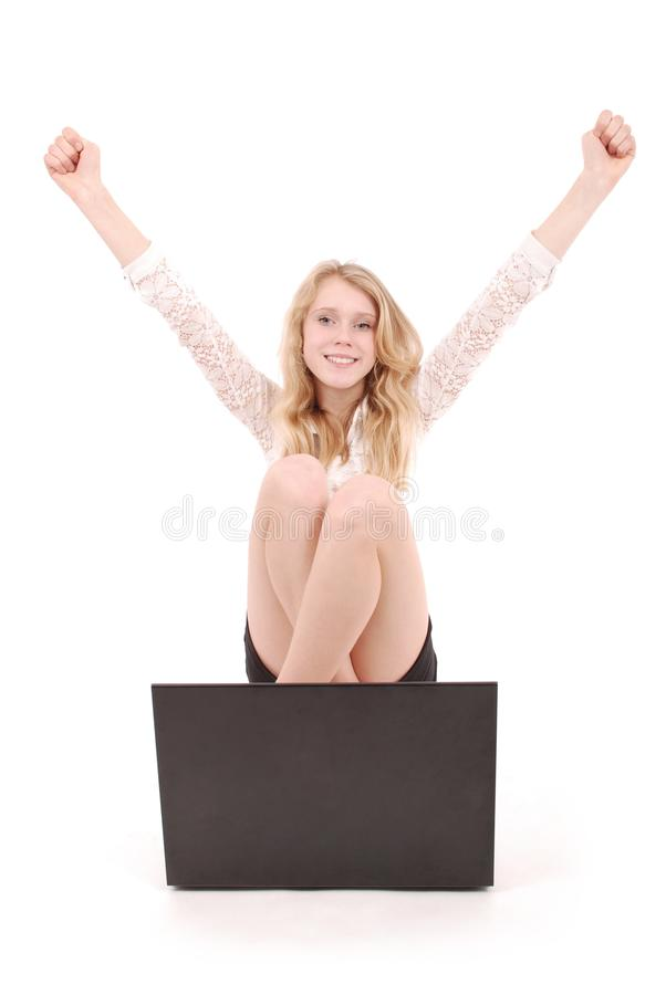 Happy student teenage girl with laptop stock photo