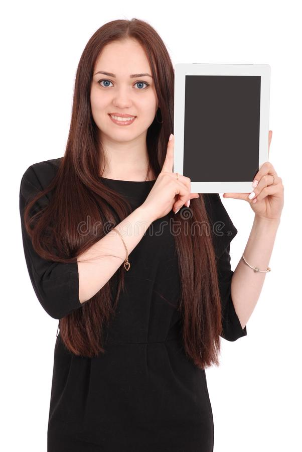 Happy student teenage girl with tablet pc. stock image