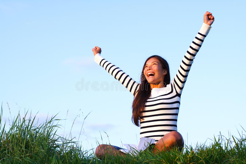 Happy student winner outside stock photography