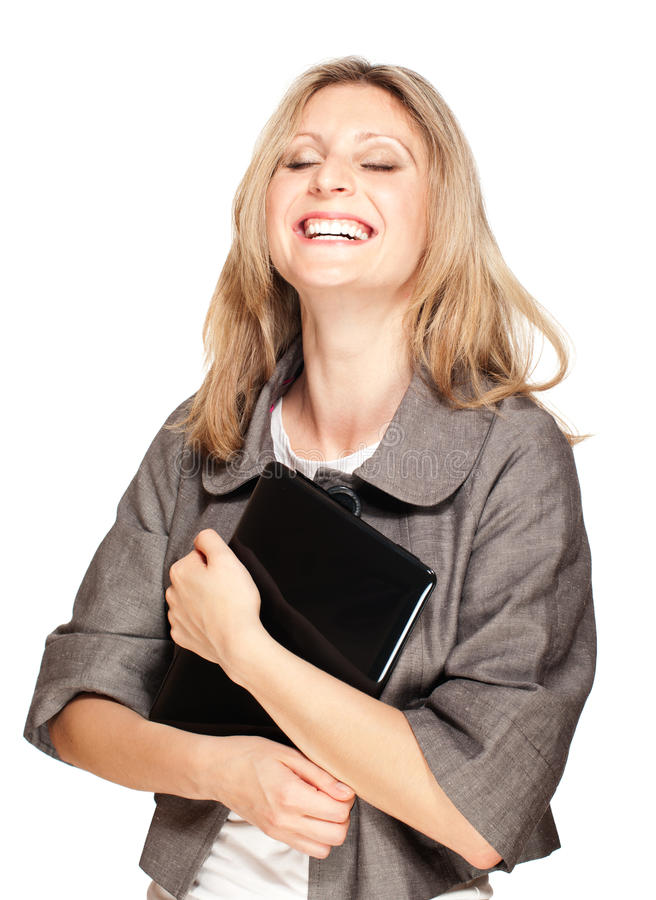 Happy student woman holding laptop stock images