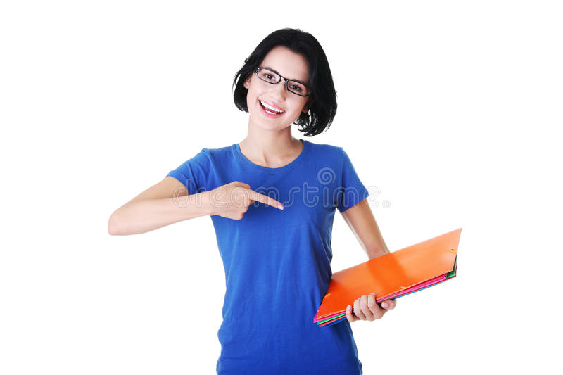Download Happy Student Woman With Notebooks Stock Image - Image of girl, high: 26392661
