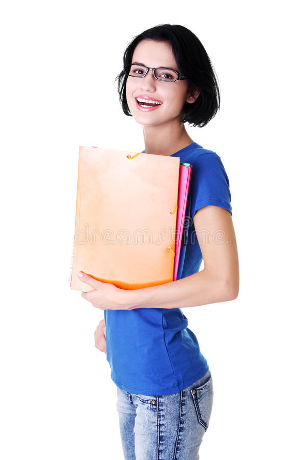 Download Happy Student Woman With Notebooks Stock Image - Image of jeans, cheerful: 27729317