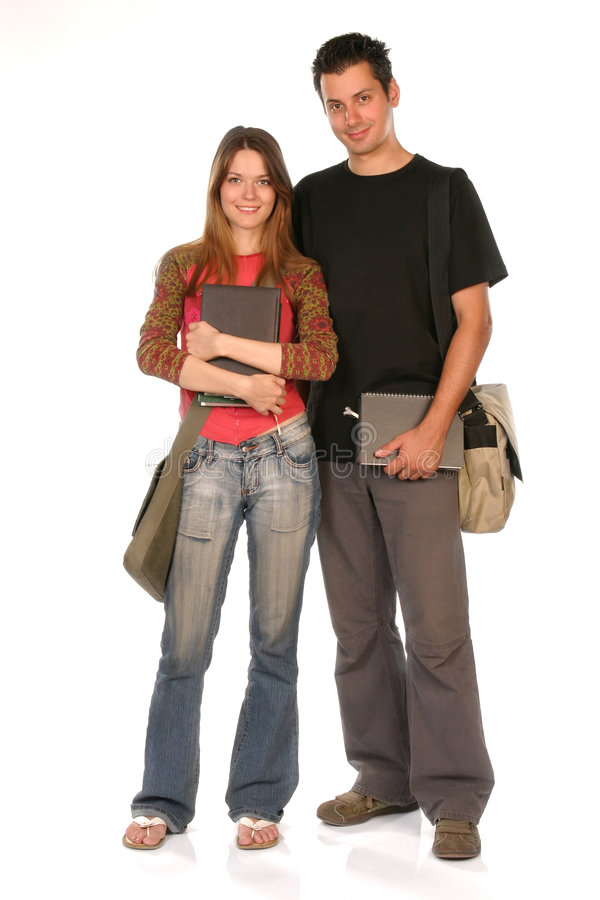 Happy students. Young woman and man standing with books and bags, isolated on white