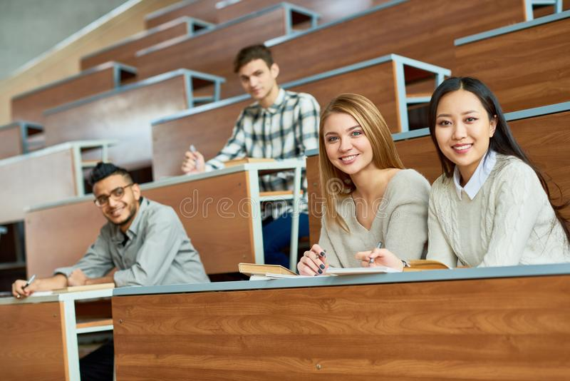 Happy Students in College royalty free stock photo
