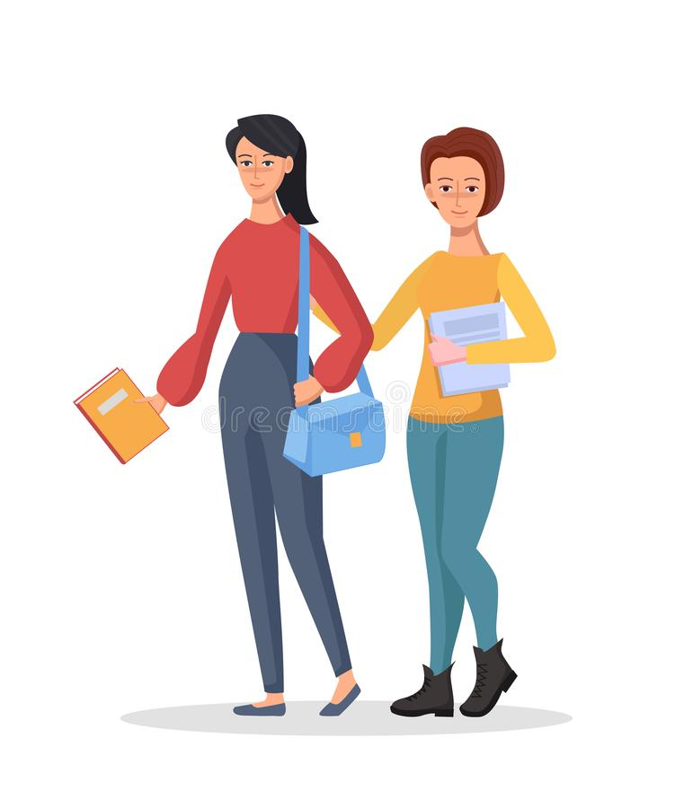 Happy students girls with books and notebooks on isolated background. Vector character illustration in cartoon style vector illustration