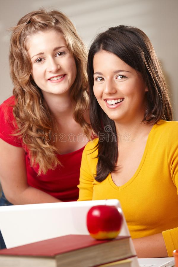 Download Happy students with laptop stock photo. Image of image - 13642536