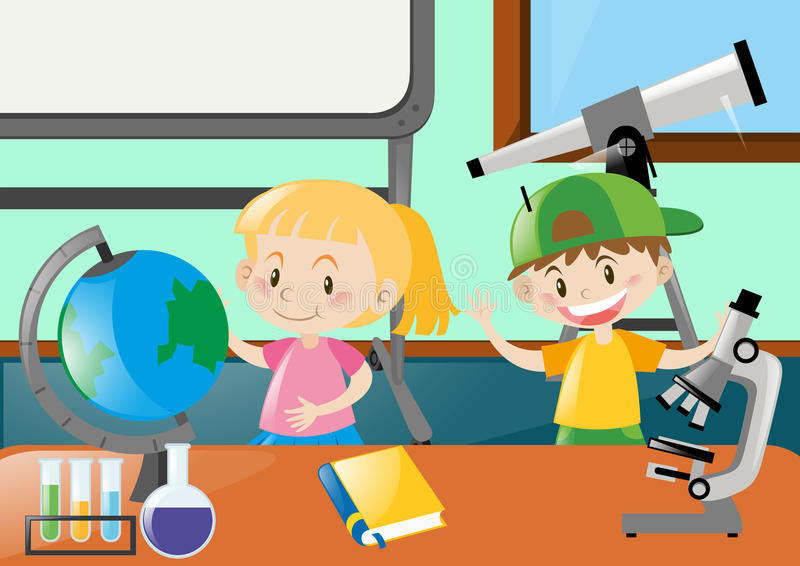 Happy students learning in classroom vector illustration