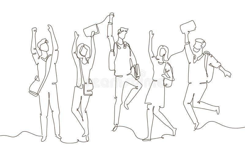 Happy students - one line design style illustration stock illustration
