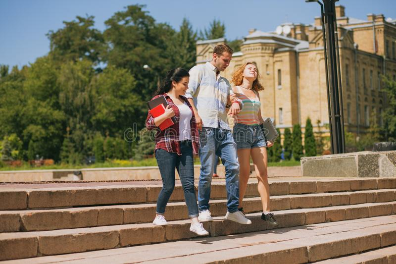 Happy Students Walking Together Stock Image Image Of Front