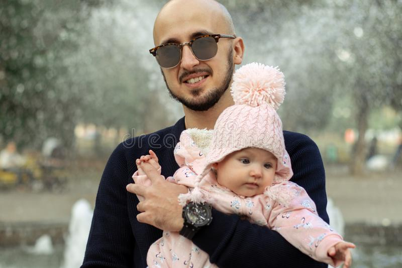 Happy father with his little baby girl stock photography