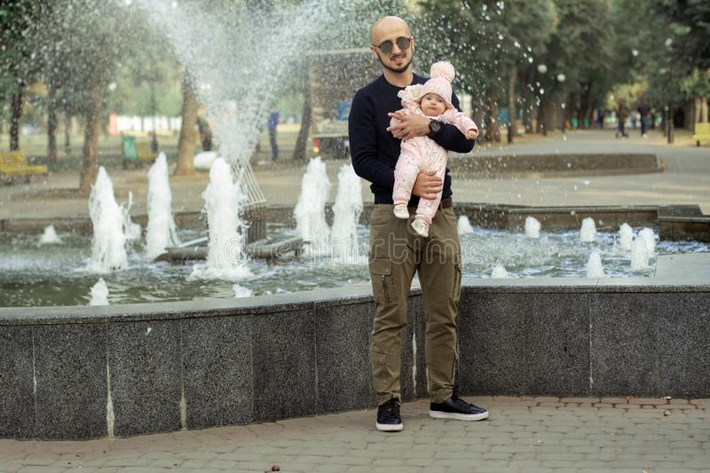 Happy father with his little baby girl royalty free stock photos