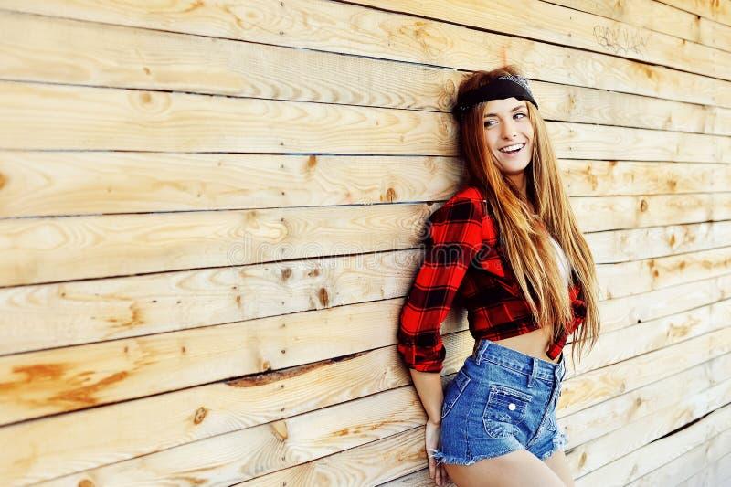 Happy stylish girl outdoor fashion lifestyle portrait stock images
