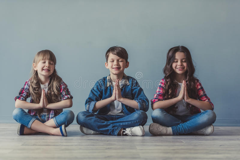 Happy stylish kids royalty free stock images
