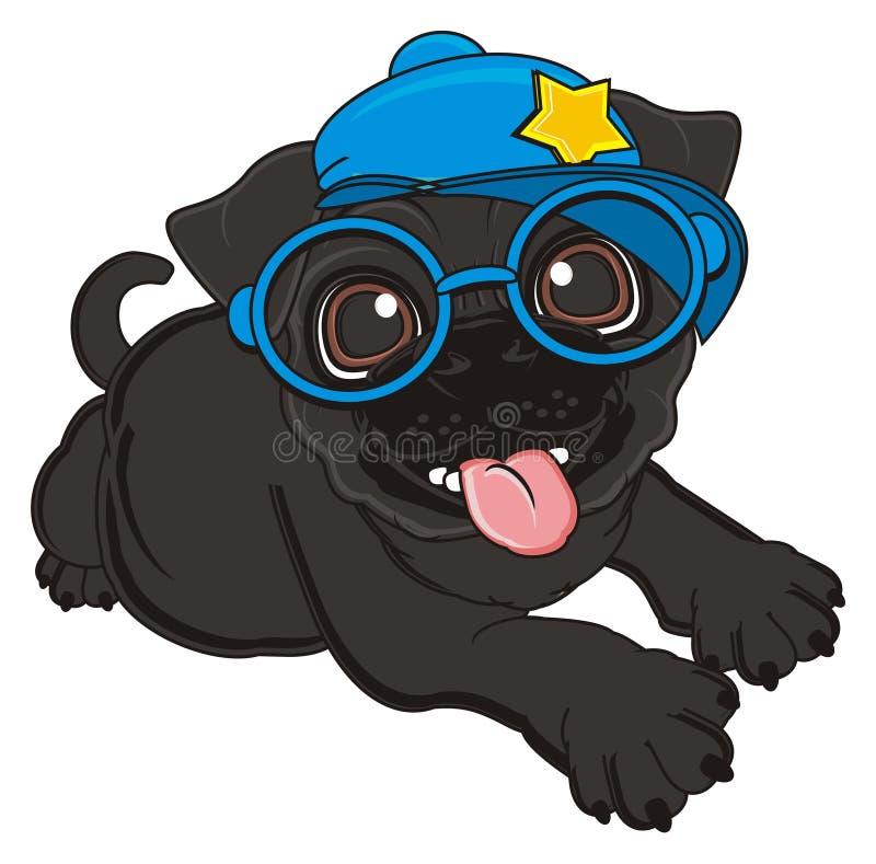 Happy stylish pug. Black pug in blue cap and glasses lying stock illustration