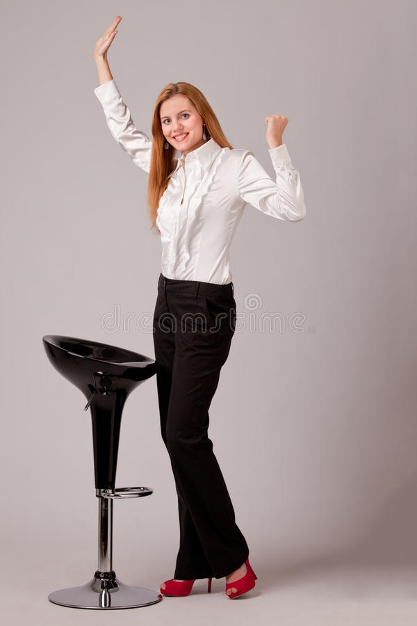 Happy about success stock photos