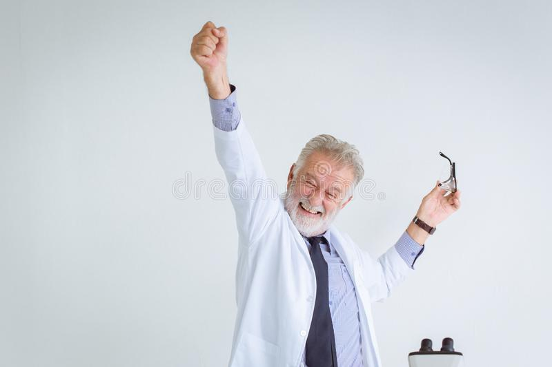 Happy success professor scientist to solve in science research royalty free stock images