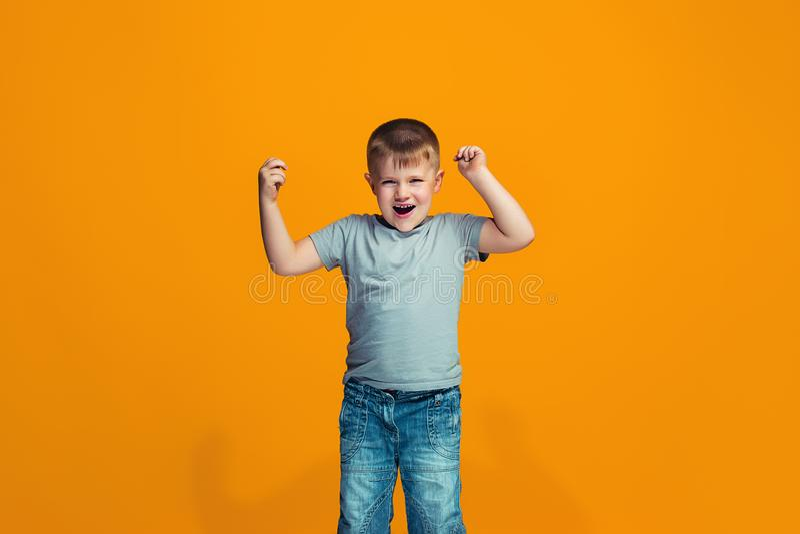 Happy success teen boy celebrating being a winner. Dynamic energetic image of female model royalty free stock image