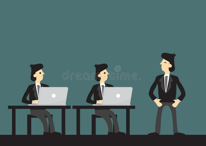 Happy successful businessman with his employee working at their work desks. Concept of corporate culture, great leader and stock illustration