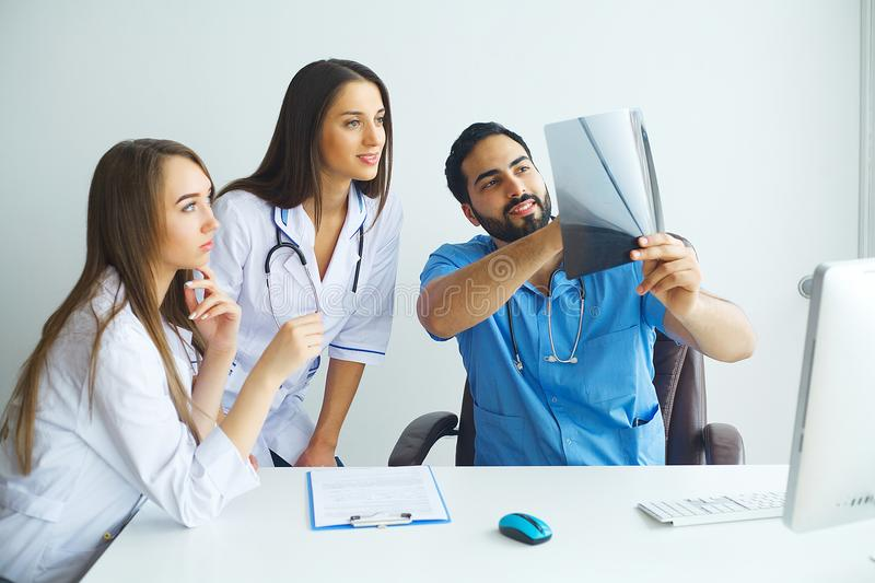 Happy Successful Medical Team work together in hospital.  stock image