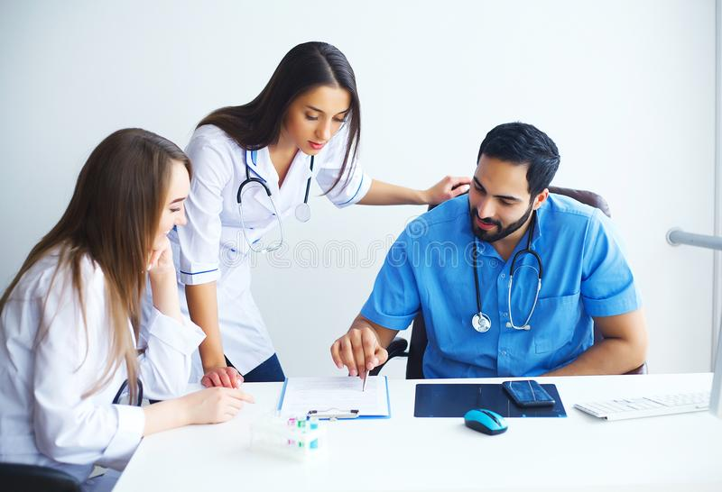 Happy Successful Medical Team work together in hospital.  royalty free stock photos