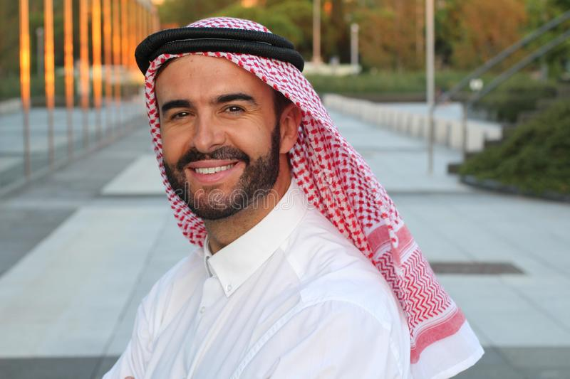 Happy successful middle eastern man royalty free stock photography