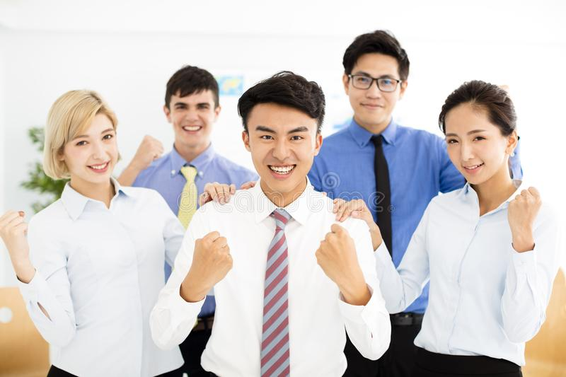 Happy successful multiethnic business team stock image