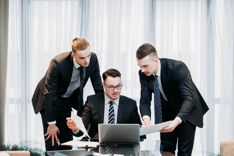 Successful team business men professional work stock photos