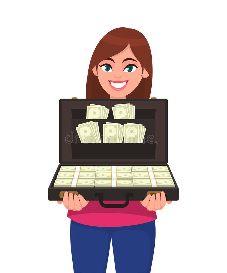Happy successful young woman holding briefcase full of money banknotes. Businesswoman holds up a suitcase full of currency notes. stock illustration
