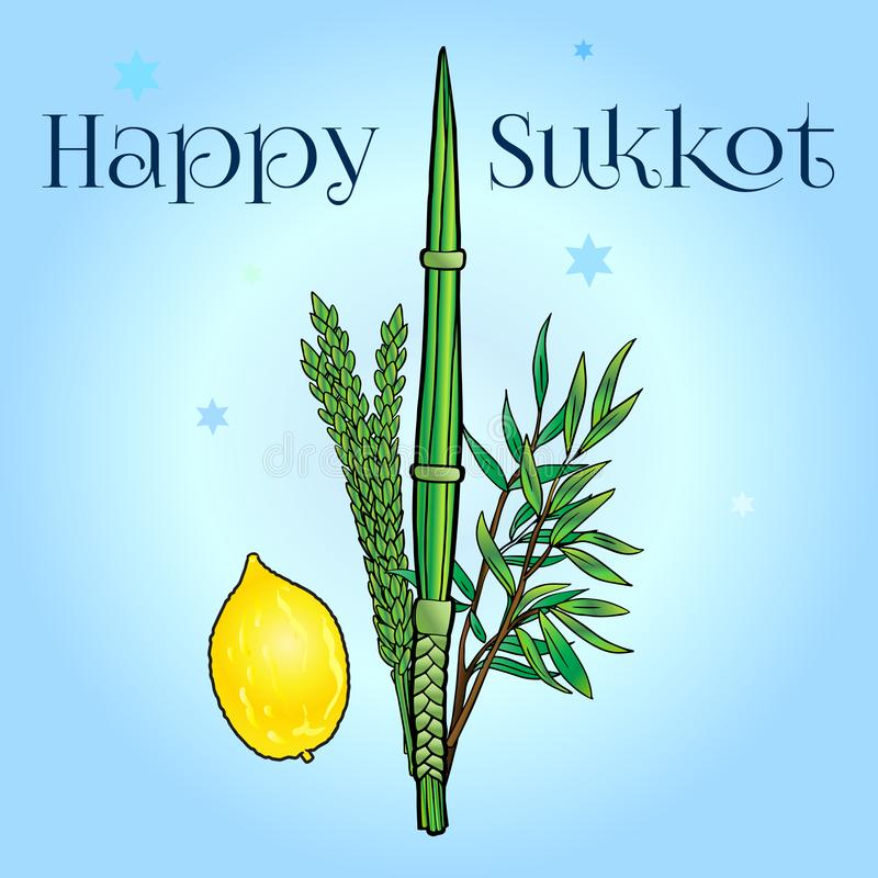 Sukkot. Happy Sukkot background. Hebrew translate: Happy Sukkot Holiday. Jewish traditional four species lulav, etrog for Jewish Holiday Sukkot. Vector Jewish royalty free illustration