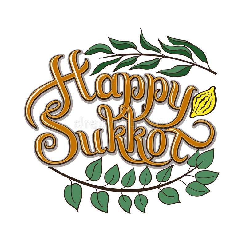 Happy Sukkot hand drawn vector card, border, background, banner, frame with hand lettered sign, palm leaf, citron. Myrtle and willow leaves. Isolated image vector illustration
