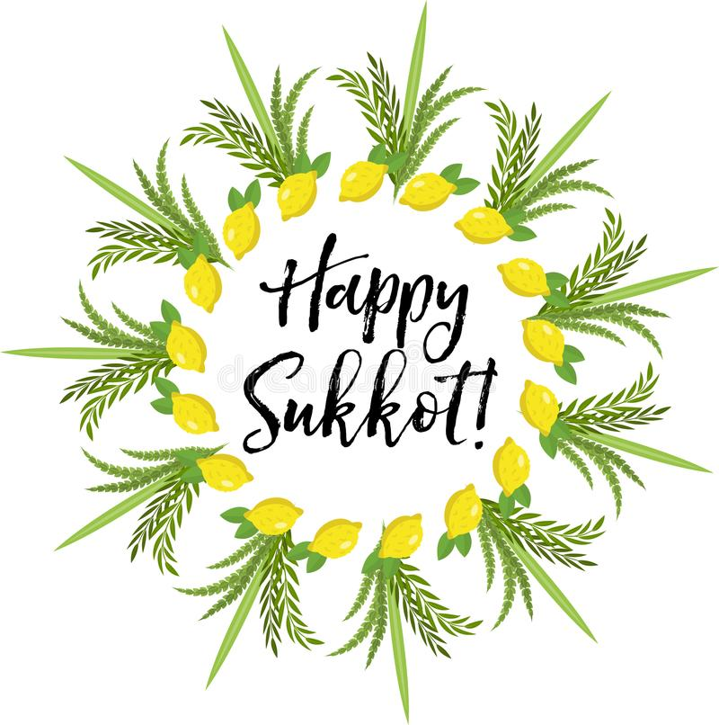 Happy sukkot round frame of herbs jewish holiday huts template for download happy sukkot round frame of herbs jewish holiday huts template for greeting card stock m4hsunfo
