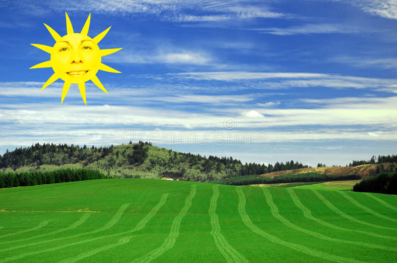 Download Happy Sumer Sunshine Face stock illustration. Illustration of landscape - 14014958