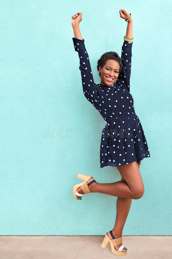 Happy African American Woman. Happy summer fashion African American woman royalty free stock photography