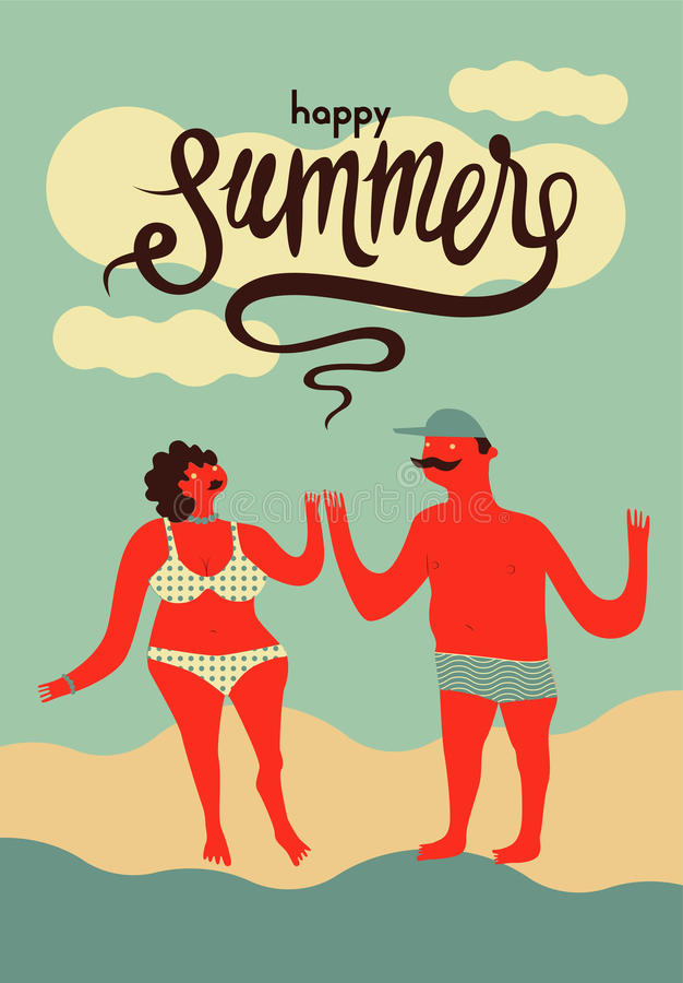 Happy summer. Calligraphic retro poster with cartoon couple. Vector illustration. vector illustration