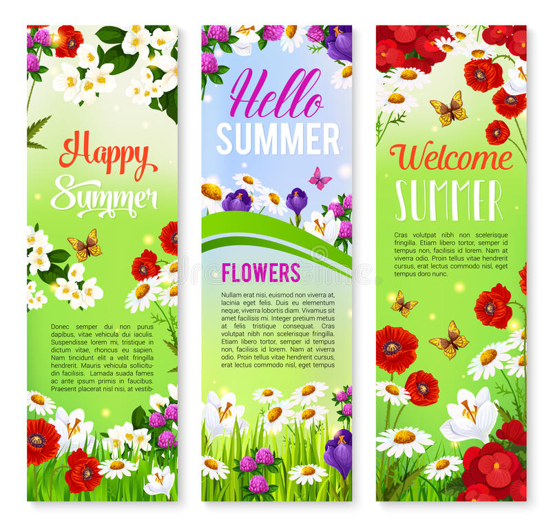 Happy Summer floral greeting banner set design royalty free illustration