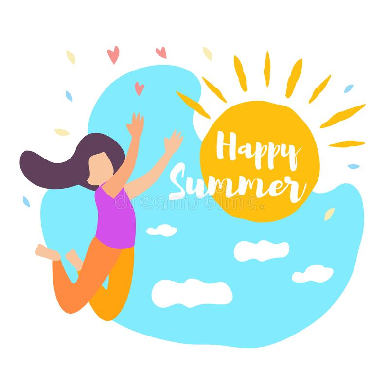 Happy Summer Girl Jump Sun Shine Blue Sky Cloud stock illustration
