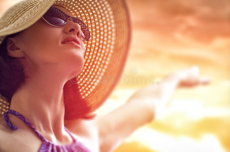 Happy summer. The girl is happy summer sun royalty free stock images