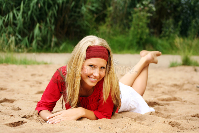Happy in summer holidays stock photo