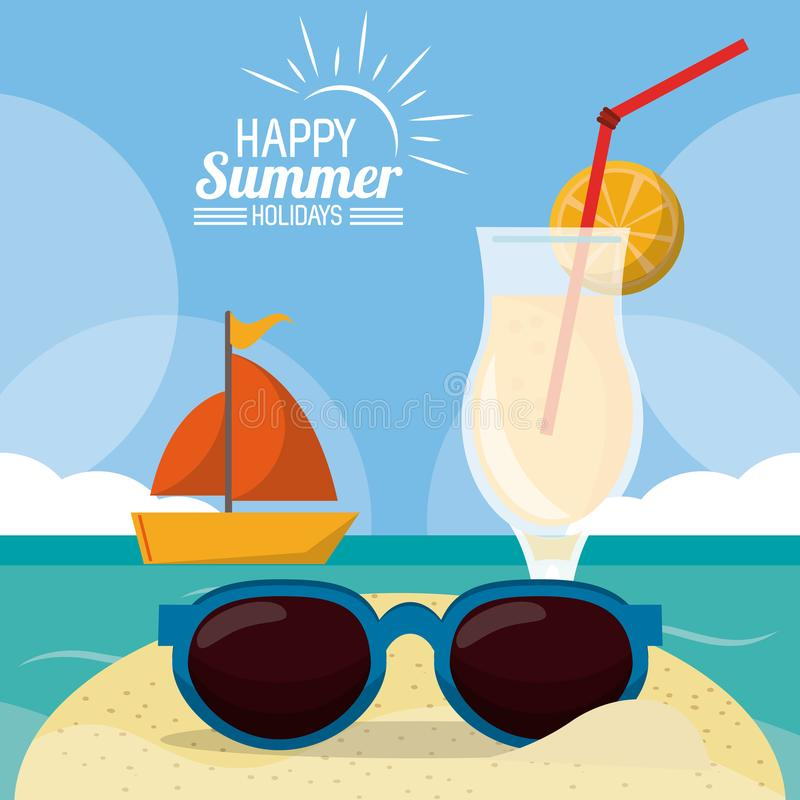 Summer, Holidays & Sunglasses Stock Vector