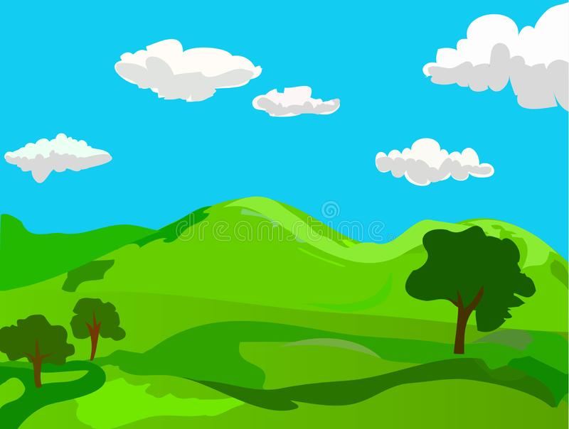 It`s Spring. Peaceful Morning Outside. Episode. Happy Summer Landscape with Peaceful Country Meadow, Green Hills & Cute White Clouds on Blue Sky. Cartoon Vector vector illustration
