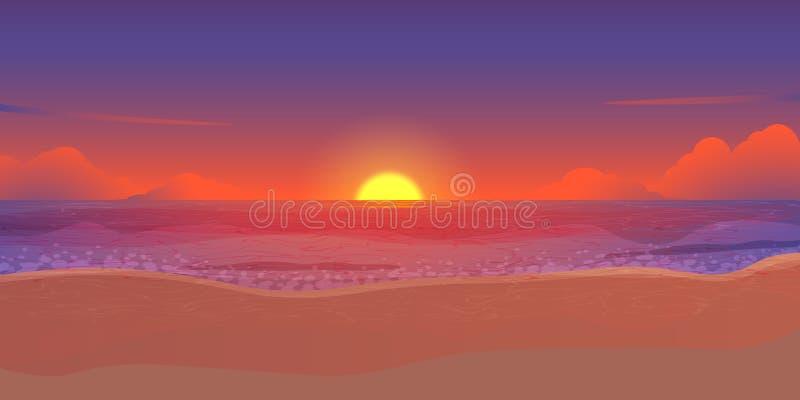 Happy summer night party, sunset beach purple sky vector stock illustration