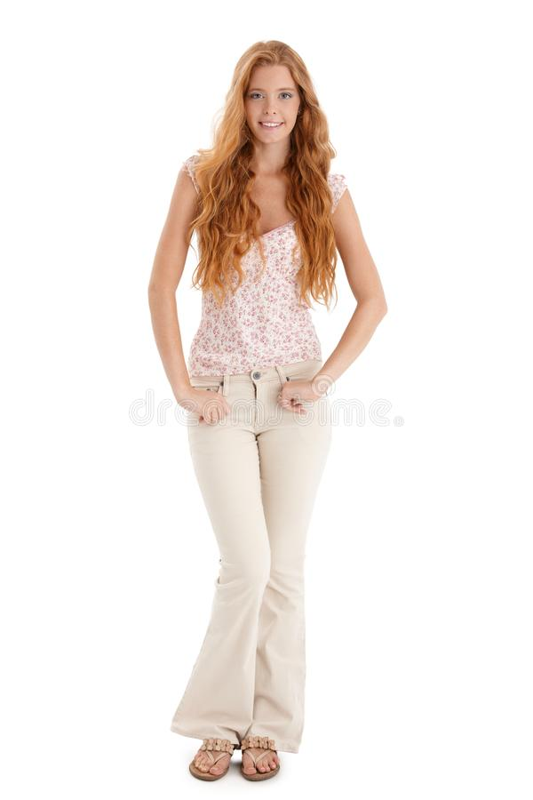 Happy summer portrait of redhead girl royalty free stock photos