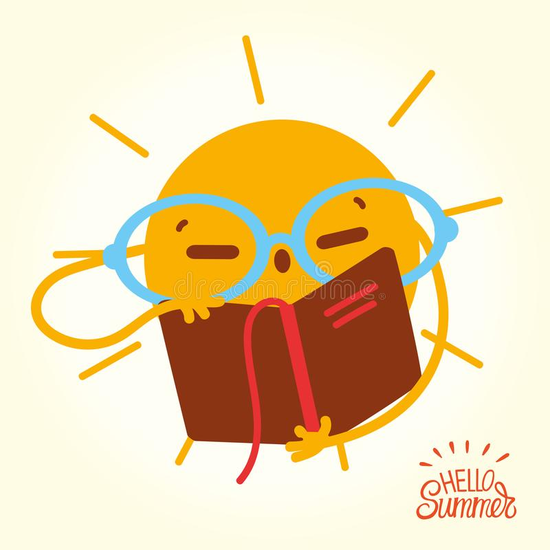 Happy Summer Sun Face open books and reading. Drawing cartoon Sun in glasses readung book on vacation. Illustration with a picture of the sun vector illustration