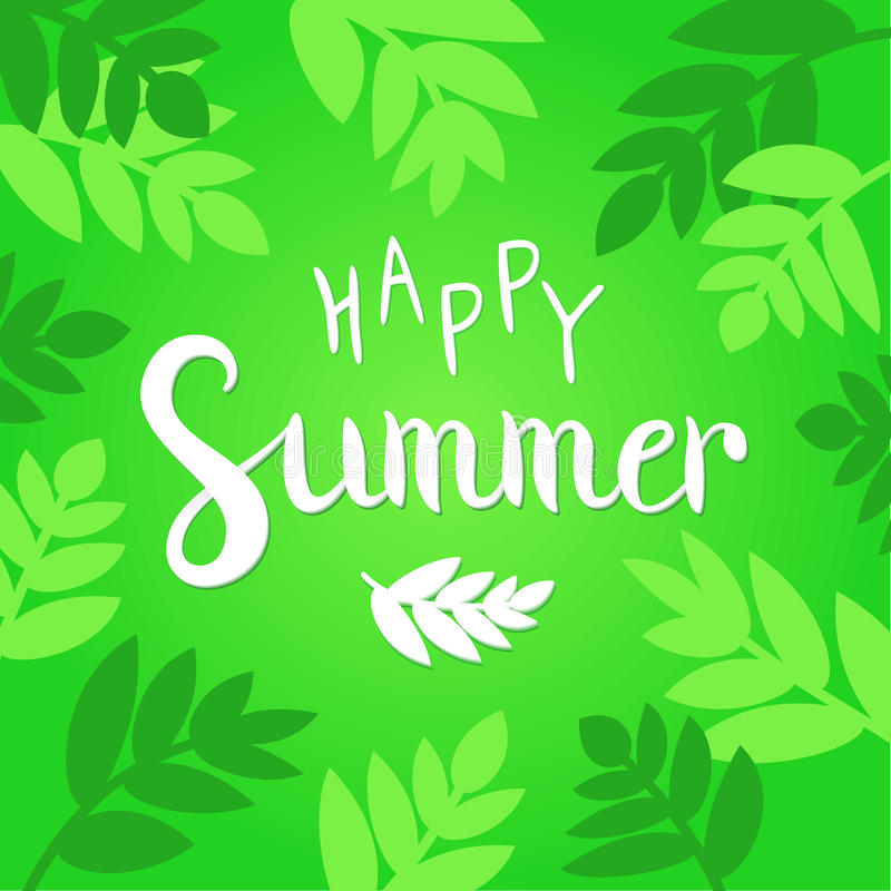 Happy Summer vector illustration. Vibrant green background with hand drawn lettering. vector illustration
