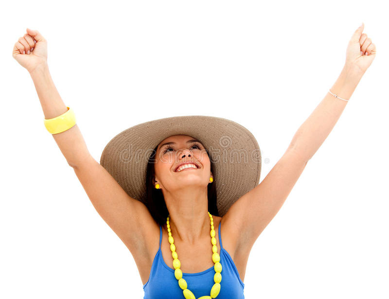 Download Happy summery woman stock photo. Image of background - 15726112
