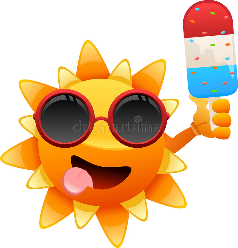 Happy sun character with ice cream vector illustration